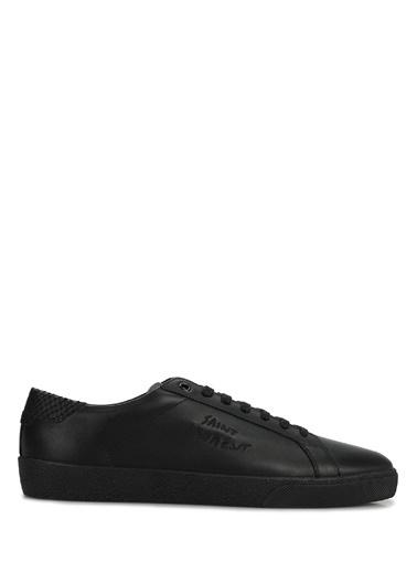 Saint Laurent Saint Laurent Court Classic  Logolu Erkek Deri Sneaker 101622196 Siyah